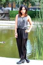black Sheinside skirt - black vagabond boots - gray brandy melville top