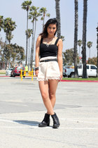 light pink H&M shorts - black vagabond boots - ivory Hot Topic necklace