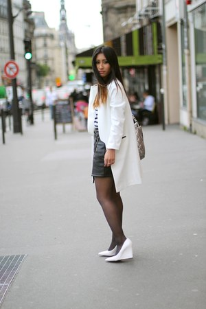 white Choies jacket - black Choies skirt - white Mango heels