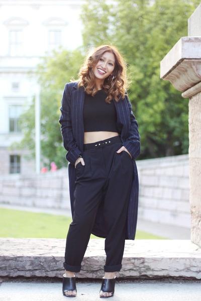 blue Zara coat - black cropped top Zara top - black mules Zara heels