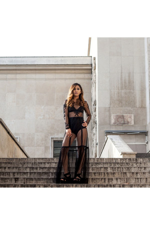 black lace long dress Urban Outfitters dress