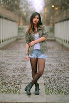 army green Mango jacket - black vagabond boots