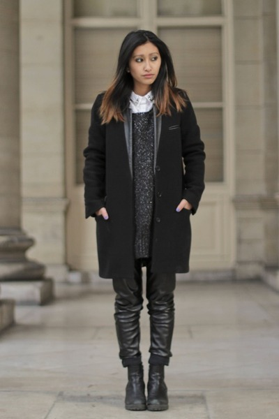 black The Kooples coat - black H&M sweater