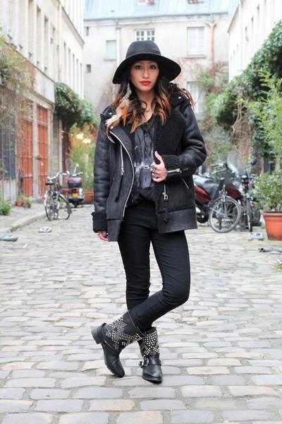 black biker Yesstyle coat - black studded boots Zara boots