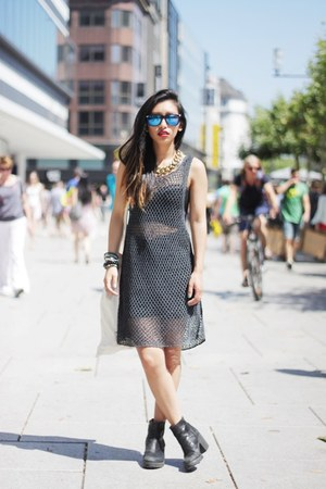 vagabond boots - net dress Zara dress - nastygal top