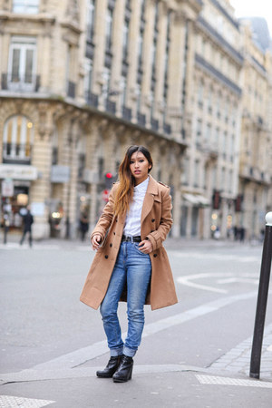 tan H&M coat - sky blue Zara jeans