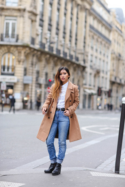tan H&M coat - sky blue Zara jeans