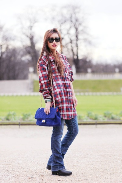red vintage shirt - black Eleven Paris boots - blue Yesstyle bag