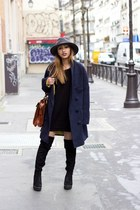 navy coat the korner jacket - black Tamaris boots - charcoal gray Bailey hat
