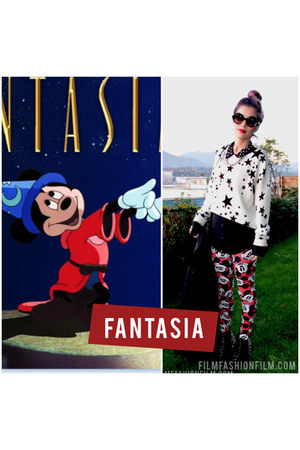 red Disney leggings - white H&M sweater - black Forever 21 shirt