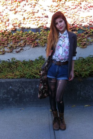 dark brown Aldo boots - heather gray Urban Outfitters blazer - black H&M tights