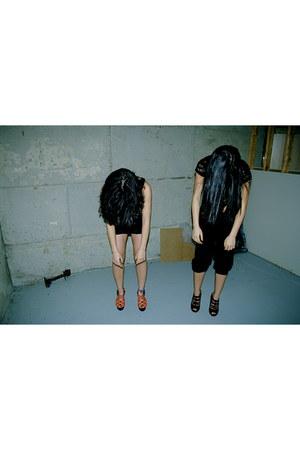orange Chloe wedges - black Forever 21 heels