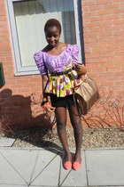orange new look flats - bronze Mango bag - black H&M skirt