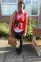 red Dorothy Perkins blazer - black Converse shoes - camel wool H&M coat