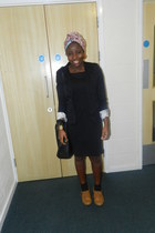 black Autonomy dress - mustard brogues Newlook shoes - black H&M blazer