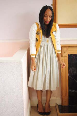 Yellow Varsity jacket - Miss Selfridge dress - Zara pumps
