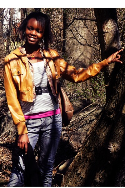 blue jeans - brown jacket - black shirt - blazer - orange necklace