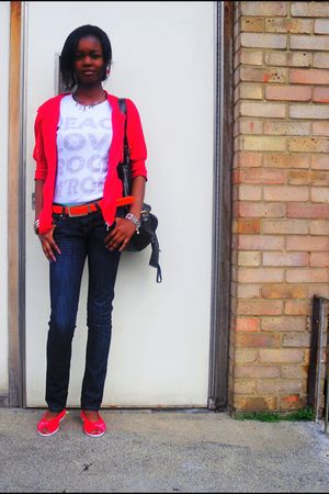 red cardigan - orange belt - red shoes - silver accessories - blue jeans - white