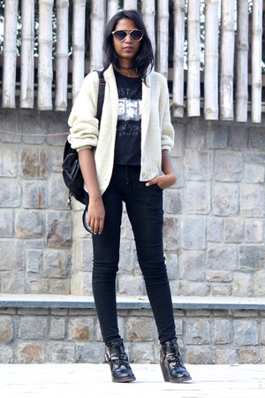 thrifted sweater - asos boots - Tally Weijl bag - Style Fiesta sunglasses