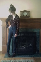 navy high waisted BDG jeans - dark brown thrifted blouse - dark brown kohls heel