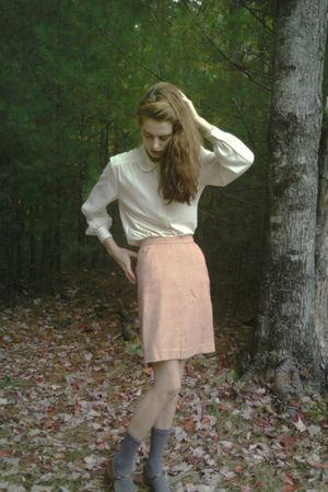 white Pendleton blouse - orange Tucker for Target skirt - gray  socks - brown et