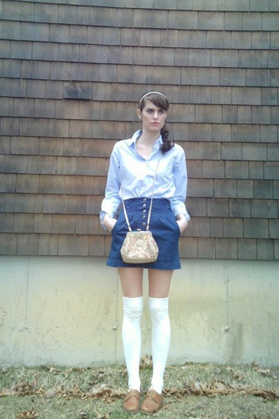 blue thrift shirt - blue Urban Outfitters skirt - white Target - beige thrift pu