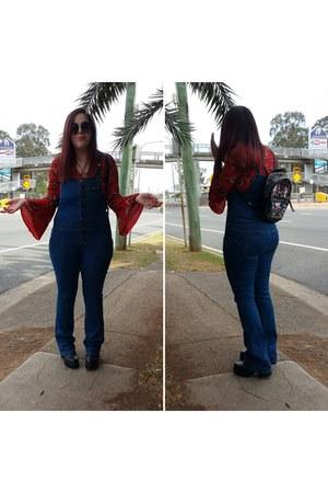 blue denim dungarees Nasty Gal jeans - black Sportsgirl bag