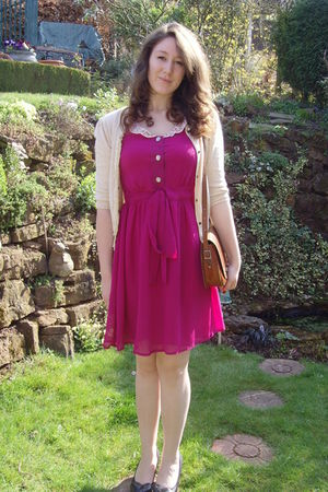 pink Looking Glass dress - Topshop cardigan - miss l fire shoes