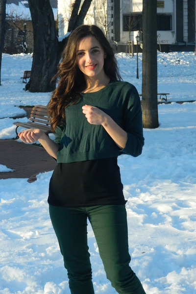 dark green Bershka jeans - forest green Bershka blouse - black new look t-shirt