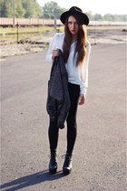 black Zara blazer - black Ebay shoes - black no name leggings - white Zara shirt