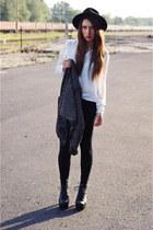 black Zara blazer - black Ebay shoes - black no name leggings - white Zara shirt