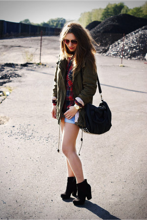 maroon Zara shirt - black Zara boots - army green H&M jacket
