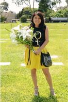 black kosiuko bag - black ROT top - yellow Al reves skirt