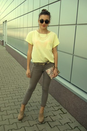 H&M purse - dark khaki Bershka leggings - dark brown H&M sunglasses
