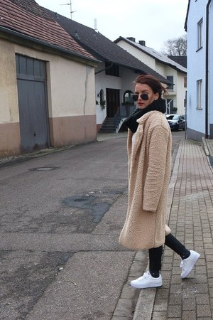 tan Pimkie coat - black H&M pants - tan Only blouse - white Puma sneakers