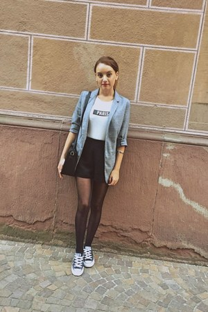 heather gray Pimkie blazer - black vintage bag - black New Yorker shorts