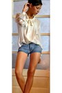 White-shirt-sky-blue-only-shorts