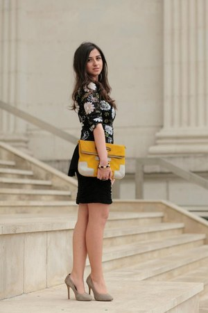 black floral peplum Zara top - black lace Mango skirt