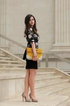 black floral peplum Zara top - black lace Mango skirt
