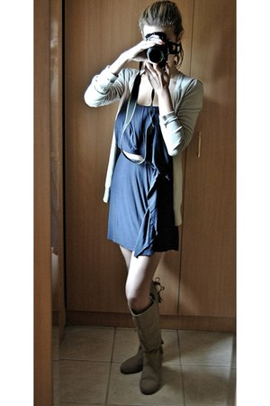 gold Cellini necklace - tan Local store boots - navy Bershka dress