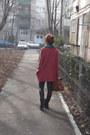 Black-bershka-boots-coral-bershka-coat-teal-h-m-scarf