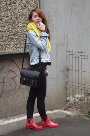 red Rainy boots - sky blue denim pull&bear jacket - yellow H&M scarf