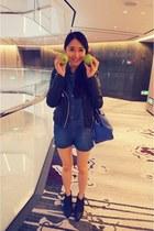 navy denim romper no brand romper - black Zara jacket - blue Zara bag