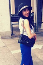 black Chanel bag - blue skirt - white top