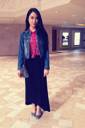 red Forever21 blouse - blue denim lowrys farm jacket - black with stud Zara bag