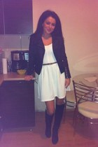 white H&M dress - black Stradivarius jacket