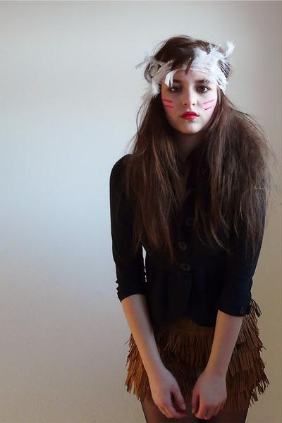 dark brown Mango tights - brown Zara skirt - black H&M cardigan - beige New York