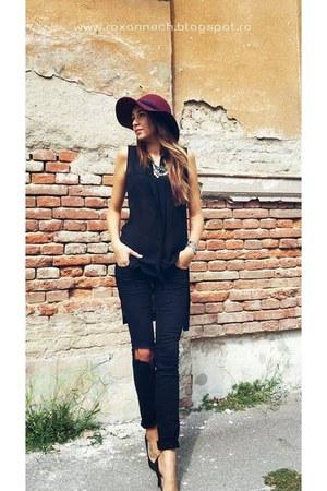 Terranova jeans - Zara hat - new look heels - H&M blouse