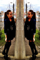 denim jacket vintage jacket - new look dress - wedges New Yorker sneakers