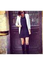 black H&M dress - boots - pull&bear blazer